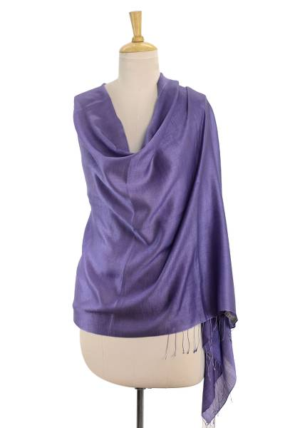 Wool blend shawl, 'Shimmering Lavender' - Wool Blend Shawl Lilac Wrap from India