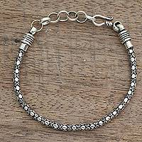 Men's sterling silver bracelet, 'Serpent Shadow' - India Fair Trade Men's Sterling Silver Bracelet