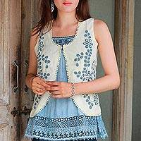 Cotton blend vest, 'Bohemian Bouquet' - Bohemian Style Vest with Embroidery and Beads