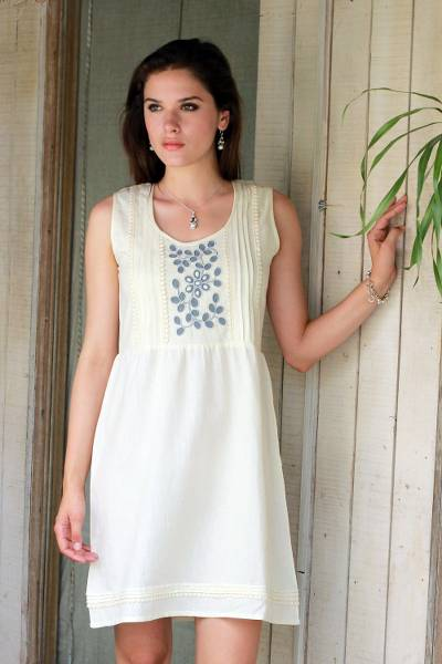Cotton blend dress, 'Smoky Flowers' - Cotton Viscose Blend Dress in Ivory and Smoke from India
