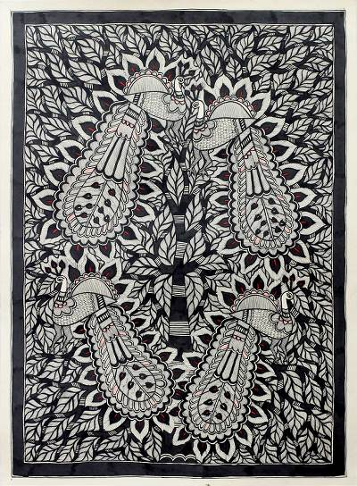 Madhubani Style Indian Folk Art Painting on Paper