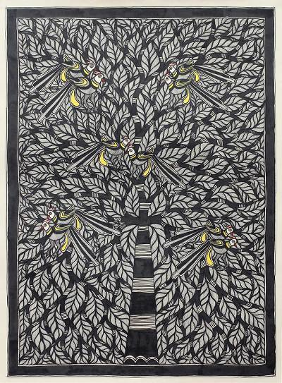 Original Black and White Indian Madhubani Painting on Paper