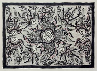 Original Black and White Indian Folk Art Madhubani Painting