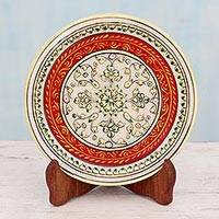 Marble plate, 'Rajasthan Star' - Makrana Marble Decorative Plate Painted by Hand