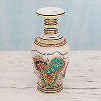 Marble decorative vase, 'Dancing Peacocks' - Makrana Marble Decorative Vase Crafted and Painted by Hand