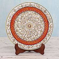 Marble plate, 'Jaipur Kaleidoscope' - Hand Painted Flowers on Makrana Marble Plate with Stand