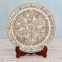 Marble plate, 'Kota Kaleidoscope' - Makrana Marble Decorative Plate Painted by Hand