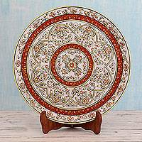 Marble plate, 'Kota Floral' - Hand Painted Makrana Marble Decorative Plate with Stand