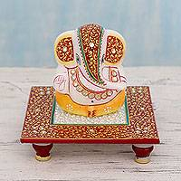 Marble statuette, 'Ganesha's Blessing' - Hinduism Deity in Hand Painted Marble Statuette from India