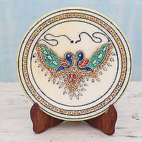 Marble plate, 'Grace and Joy' - Hand Painted Indian Peacocks on Makrana Marble Plate