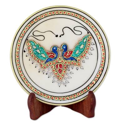 Hand Painted Indian Peacocks on Makrana Marble Plate