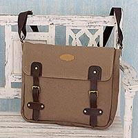 Leather trimmed canvas messenger bag, 'Summer Venture in Brown' - Hand Made Leather Trimmed Brown Canvas Messenger Bag