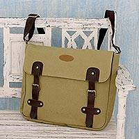 Leather trimmed canvas messenger bag, 'Summer Venture in Khaki' - Leather Accented Khaki Canvas Messenger Bag