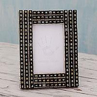 Upcycled photo frame, 'Matrix Connection' (4x6) - Telephone Keys Upcycled as Handmade Photo Frame (4x6)