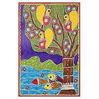 Madhubani painting, 'Celebration of Life' - Colorful Madhubani Folk Art Painting from Indian Artist