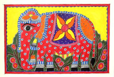 Colorful Madhubani Folk Art Painting of Indian Elephant