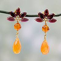 Gold plated garnet and carnelian dangle earrings, 'Fiery Lotus' - Hand Made Garnet and Carnelian 18k Gold Plated Earrings