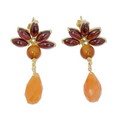 Hand Made Garnet and Carnelian 18k Gold Plated Earrings