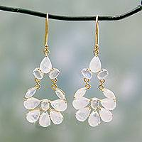 Gold vermeil rainbow moonstone earrings, 'Dawn Dewdrops' - Rainbow Moonstone Chandelier Earrings in 18k Gold Vermeil