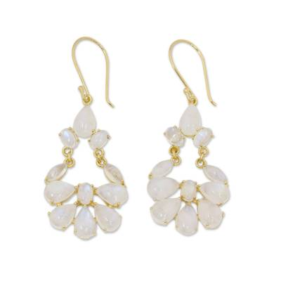 Rainbow Moonstone Chandelier Earrings in 18k Gold Vermeil