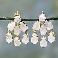 Gold plated rainbow moonstone earrings,