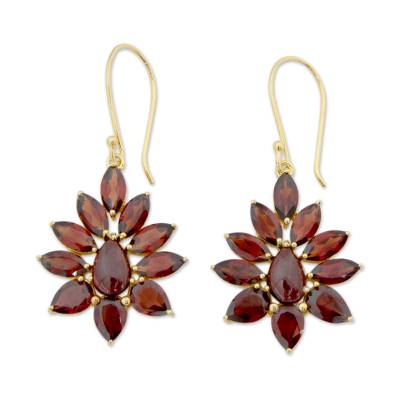 Hand Crafted 18k Gold Plated Earrings with Garnets