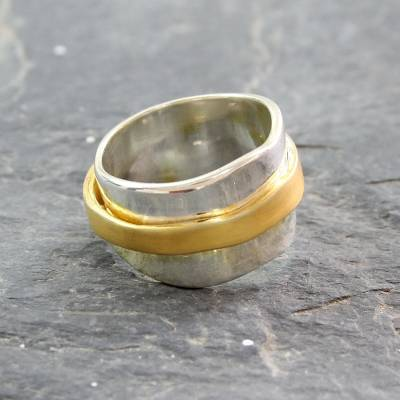 Gold plated meditation spinner ring, 'Wheel of Existence' - 18k Gold Plate and Sterling Silver Spinner Style Band Ring