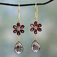 Gold vermeil garnet and smoky quartz earrings, 'Jaipur Allure' - Floral Garnet And Smoky Quartz Earrings in Gold Vermeil
