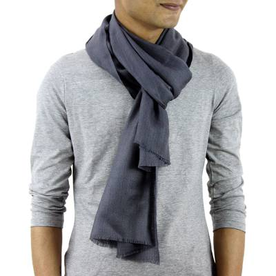 Men's wool and silk scarf, 'Kashmir Grey' - Men's Wool and Silk Scarf Muffler from India