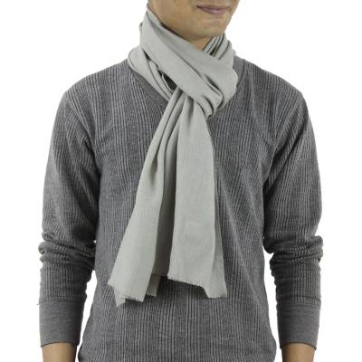 Mens wool and silk scarf, Kashmir Olive