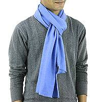 Men's wool and silk blend scarf, 'Kashmir Blue' - Men's Wool and Silk Scarf Muffler from India