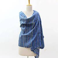 Silk shawl, 'Sapphire Promise' - Blue and Beige Raw Silk Shawl Hand Woven Wrap