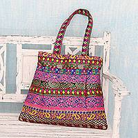 Embellished shoulder bag, 'Bollywood Chic' - Indian Zippered Shoulder Bag with Multicolored Brocades