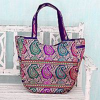 Brocade shoulder bag, 'Paisley Parade' - Multicolored Brocade Shoulder Bag by Indian Artisan
