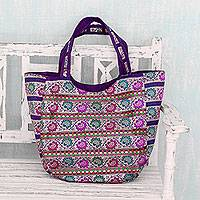 Brocade shoulder bag, 'Floral Garden' - Fair Trade Brocade Handbag in Purple, Red, Fuchsia and Teal