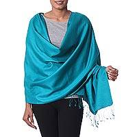 Silk shawl, 'Srinagar Teal' - Teal Color Hand Woven Indian 100% Silk Shawl Wrap
