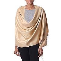 Silk shawl, 'Srinagar Gold' - Golden 100% Silk Wrap Shawl with Fringe from India
