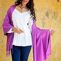 Silk shawl, 'Srinagar Purple' - Purple 100% Silk Shawl Wrap with Fringe from India