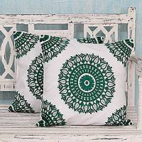 Cotton cushion covers, 'Emerald Delight' (pair) - Green and White Embroidered Cotton Cushion Covers (Pair)