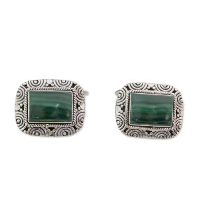 Handsome Malachite Cufflinks in 925 Sterling Silver