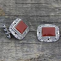 Red onyx cufflinks, 'Fiery Sunset' - Red Onyx Cabochon and Sterling Silver Cufflinks