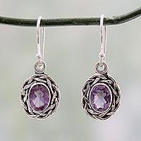 Amethyst dangle earrings, 'Indian Basket'