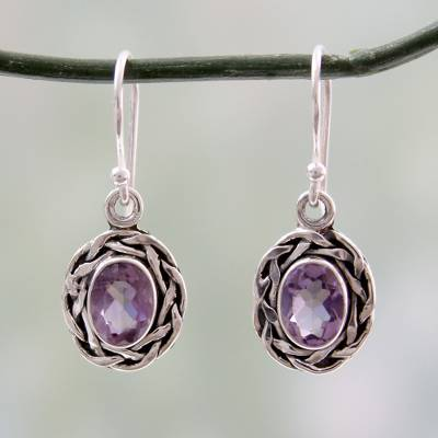 Amethyst dangle earrings, 'Indian Basket' - Woven Sterling Silver and Amethyst Dangle Earrings