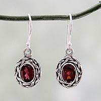 Garnet dangle earrings, 'Indian Basket' - Garnet Dangle Earrings Set in Woven 925 Sterling Silver