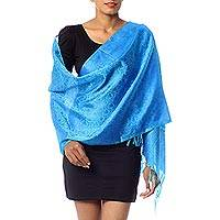 Varanasi silk shawl, 'Floral Shower' - Hand Crafted Blue Floral Varanasi Silk Wrap from India