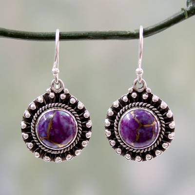 Sterling silver dangle earrings, 'Purple Fire' - Purple Turquoise and Sterling Silver Earrings from India