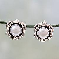 Cultured pearl button earrings, 'Regal Aura' - Cultured White Pearl and Sterling Silver Button Earrings