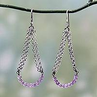 Amethyst dangle earrings, 'Chain Swings' - Vintage Style Sterling Silver Earrings with Amethysts
