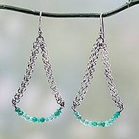 Sterling silver dangle earrings, 'Chain Swings' - Sterling Silver and Green Onyx Vintage Style Earrings