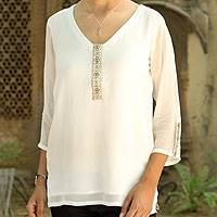 Embellished tunic, 'Pearl Mystique' - Embellished Off White Lined V-Neck Tunic from India